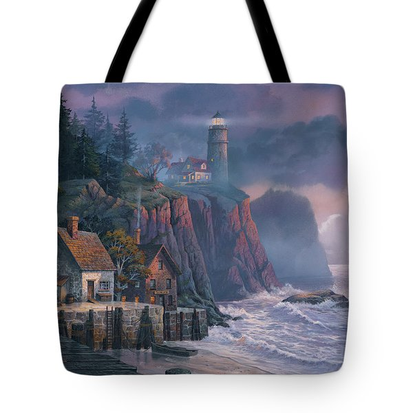 Harbor Light Hideaway Tote Bag by Michael Humphries