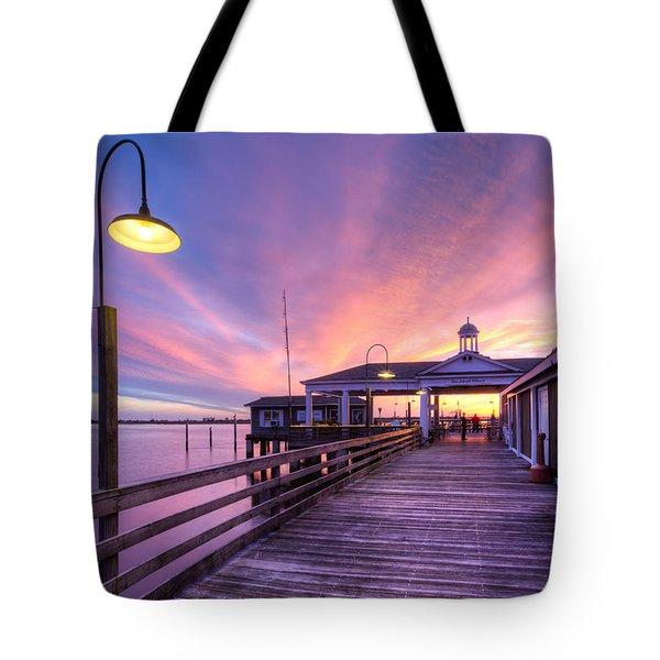 Harbor Lights Tote Bag by Debra and Dave Vanderlaan