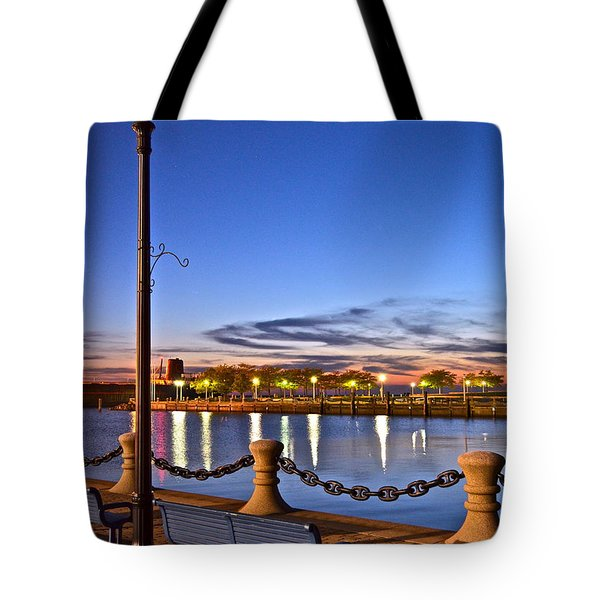 Harbor Lights Tote Bag by Frozen in Time Fine Art Photography
