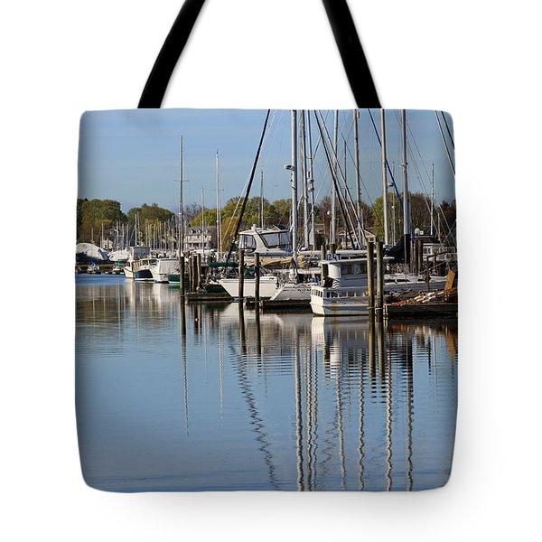 Harbor Reflections Tote Bag by Karol Livote