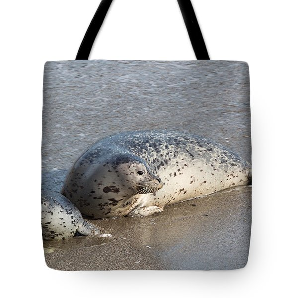 Harbor Seals In The Surf Tote Bag
