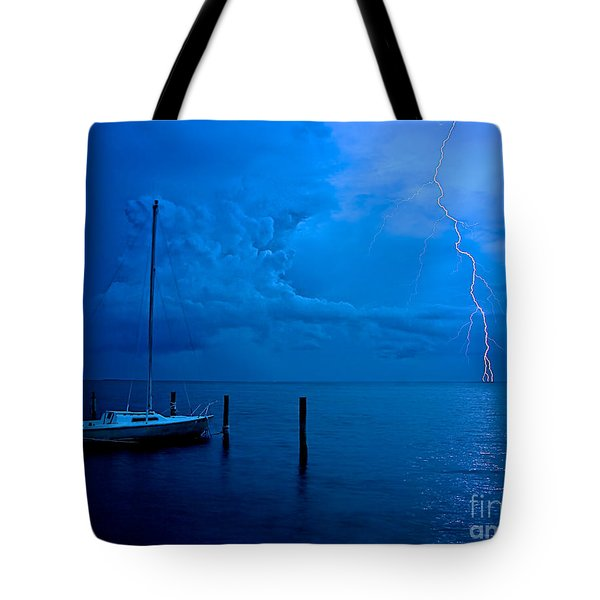 Harbor Storm Tote Bag by Mark Miller