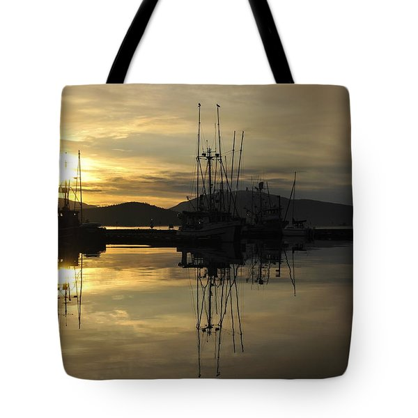 Tote Bag featuring the photograph Harbor Sunset by Cathy Mahnke