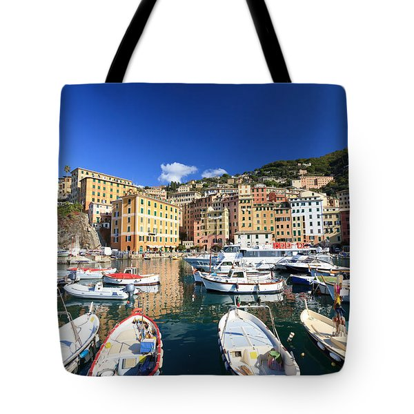 Tote Bag featuring the photograph Harbor With Fishing Boats by Antonio Scarpi