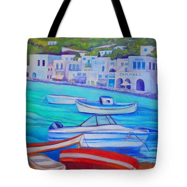 Harborfront Mykonos Tote Bag