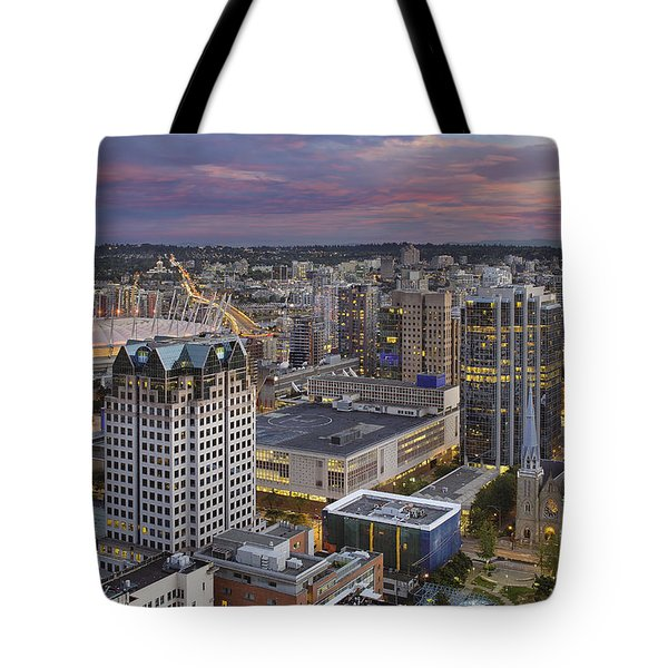 Harbour Center Lookout Vancouver Bc Tote Bag by David Gn