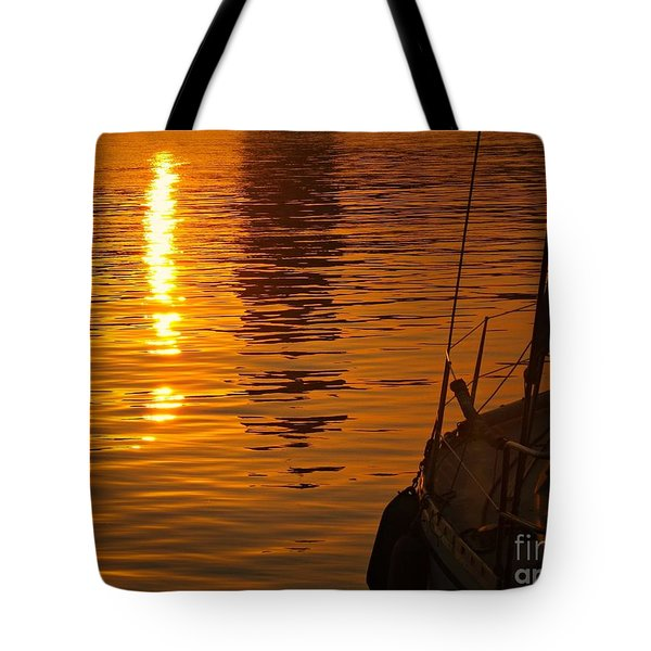 Tote Bag featuring the photograph Harbour Sunset by Clare Bevan