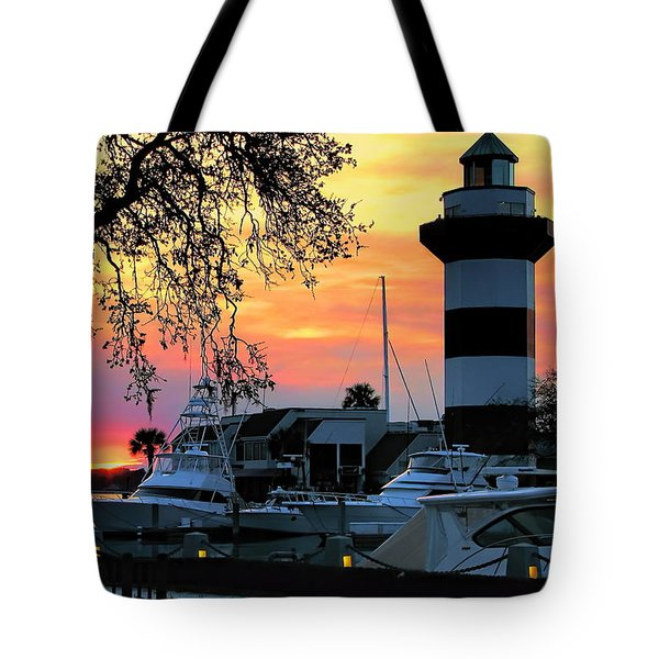 Tote Bag featuring the photograph Harbour Town Sundown by Dale Kauzlaric