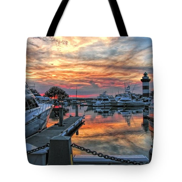 Tote Bag featuring the photograph Harbour Town Yacht Basin by Dale Kauzlaric