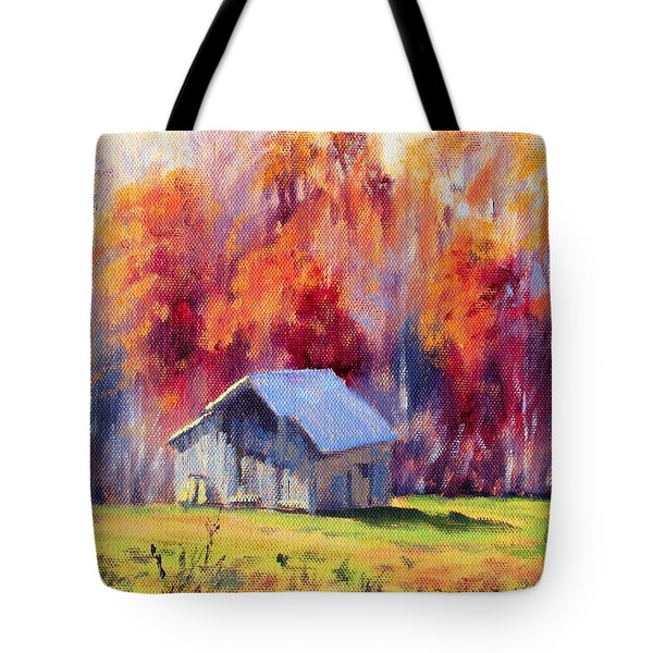 Hardy Road Barn- In Autumn Tote Bag by Bonnie Mason