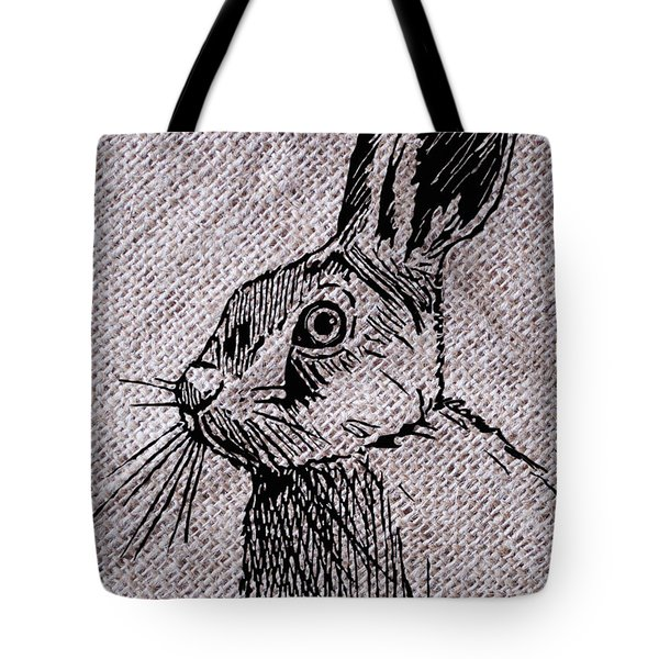 Hare On Burlap Tote Bag
