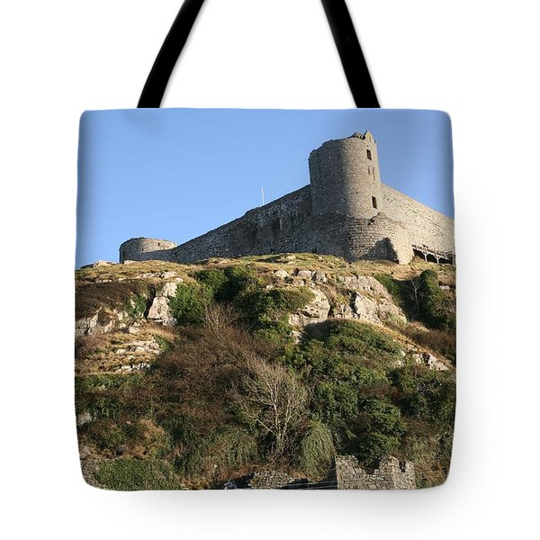 Tote Bag featuring the photograph Harlech Castle by Christopher Rowlands