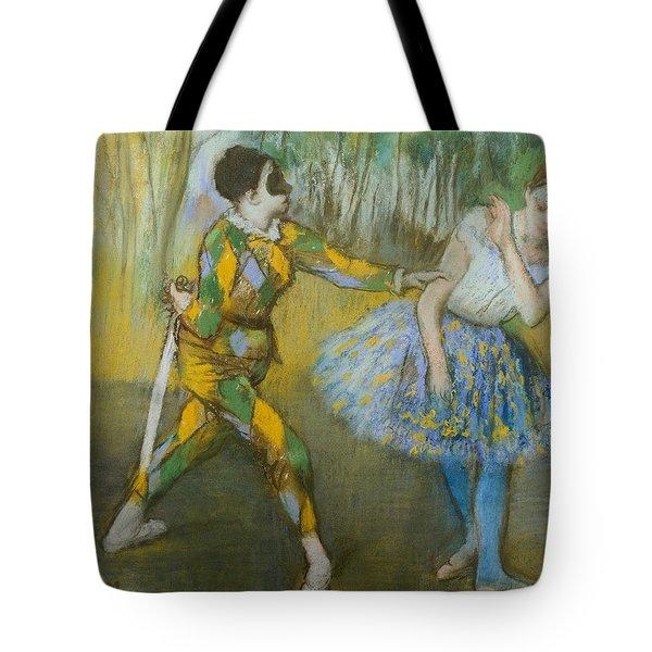 Harlequin And Columbine Tote Bag by Edgar Degas