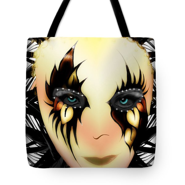 Tote Bag featuring the digital art Harlequin Face Mask by Ericamaxine Price