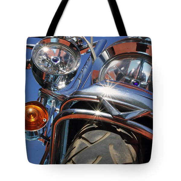 Tote Bag featuring the photograph Harley Close Up by Shoal Hollingsworth