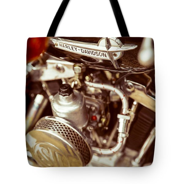 Tote Bag featuring the photograph Harley Davidson Closeup by Carsten Reisinger