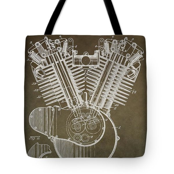 Harley Davidson Engine Tote Bag by Dan Sproul