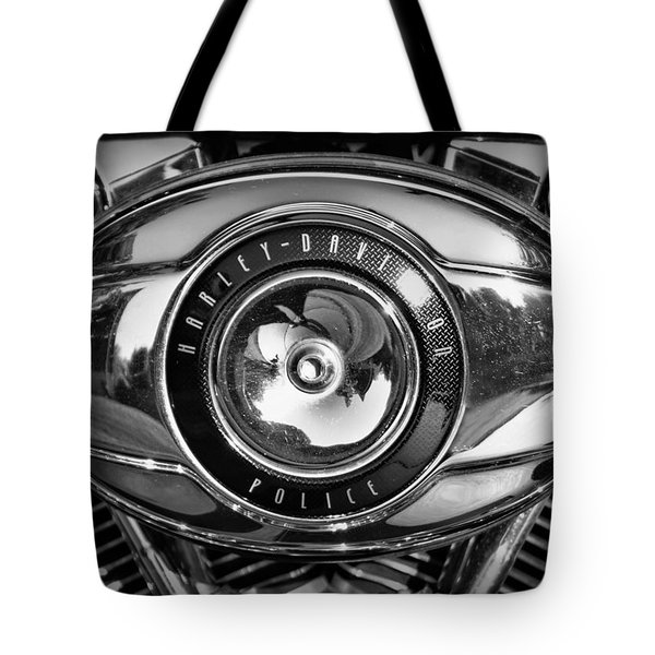 Harley-davidson Police B And W Tote Bag