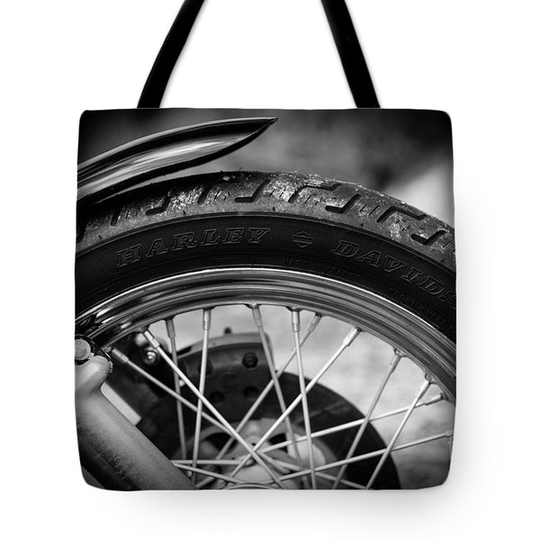 Tote Bag featuring the photograph Harley Davidson Tire by Carsten Reisinger