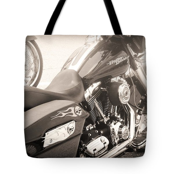 Harley Davidson With Flaming Skulls Tote Bag