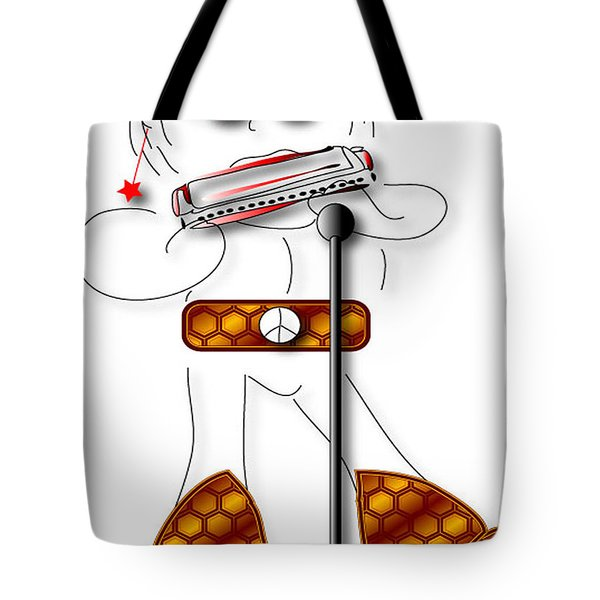 Tote Bag featuring the digital art Harmonica Player by Marvin Blaine