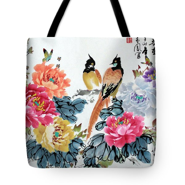 Harmony And Lasting Spring Tote Bag by Yufeng Wang