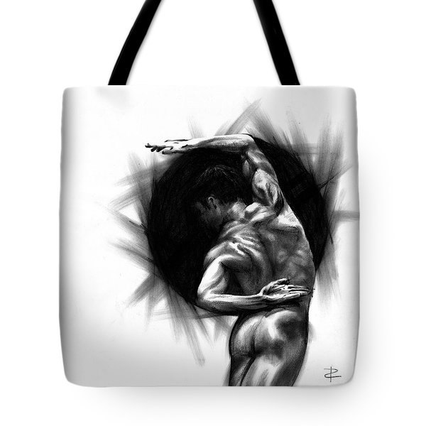 Tote Bag featuring the drawing Harmony by Paul Davenport