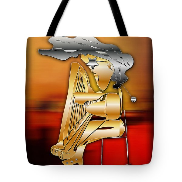 Tote Bag featuring the digital art Harp Player by Marvin Blaine