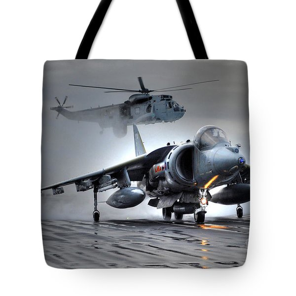 Harrier Gr9 Takes Off From Hms Ark Royal For The Very Last Time Tote Bag by Paul Fearn