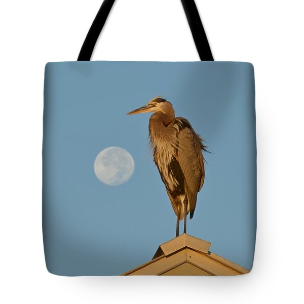 Tote Bag featuring the photograph Harry The Heron Ponders A Trip To The Full Moon by Jeff at JSJ Photography