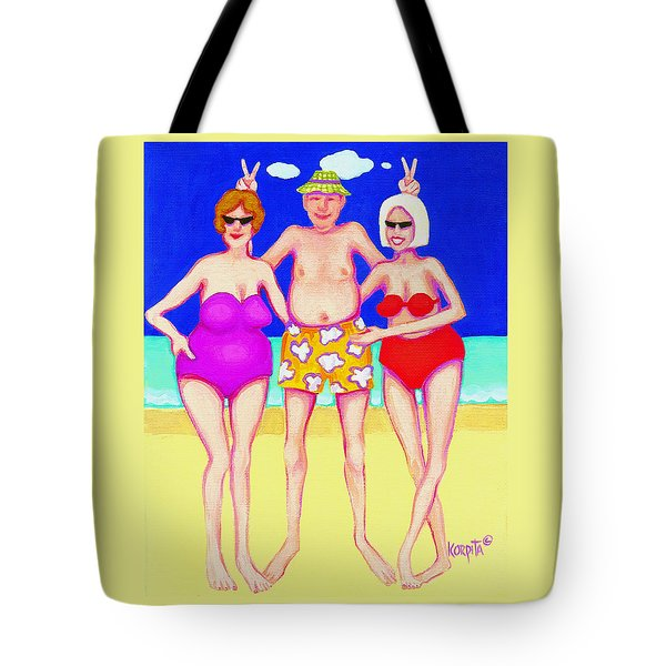 Funny Beach Women Man  Tote Bag