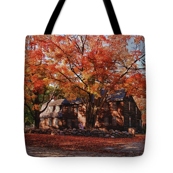 Hartwell Tavern Under Canopy Of Fall Foliage Tote Bag by Jeff Folger