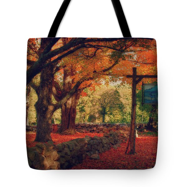 Tote Bag featuring the photograph Hartwell Tavern Under Orange Fall Foliage by Jeff Folger
