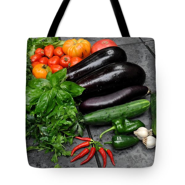 Tote Bag featuring the photograph Harvest From My Brooklyn  Garden by Diane Lent