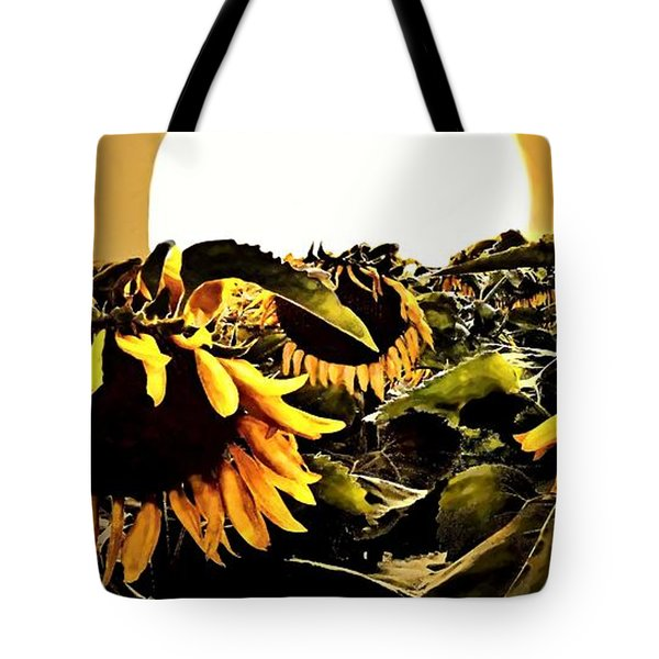 Harvest Moon Over A Sunflower Farm Tote Bag