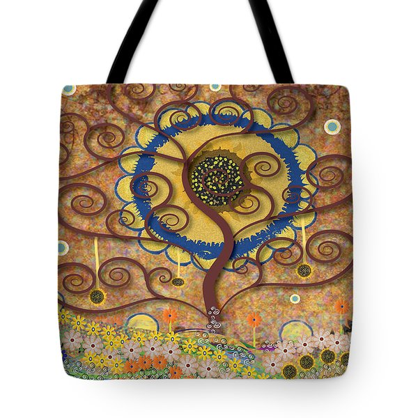 Tote Bag featuring the tapestry - textile Harvest Swirl Tree by Kim Prowse