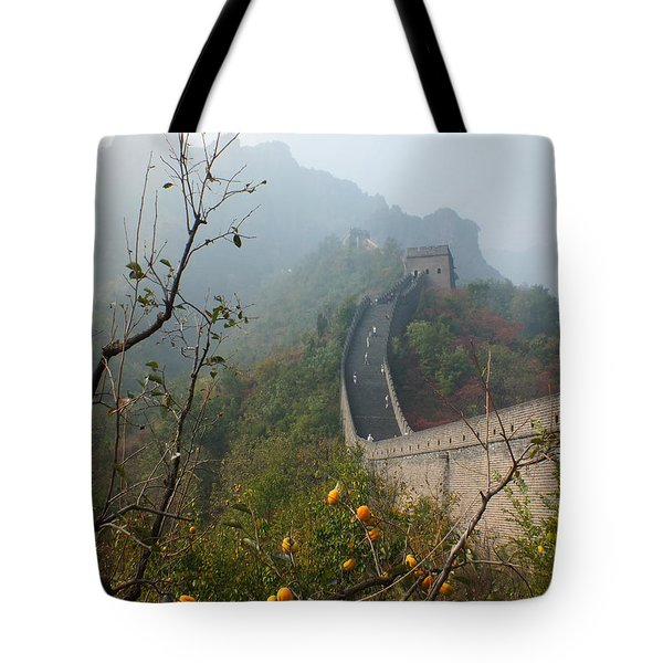 Tote Bag featuring the photograph Harvest Time At The Great Wall Of China by Lucinda Walter