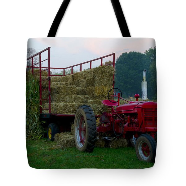 Harvest Time Tractor Tote Bag by Bill Cannon