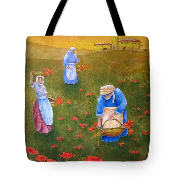 Harvesting Poppies In Tuscany Tote Bag by Pamela Allegretto