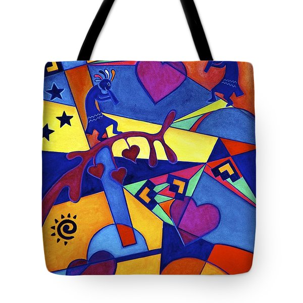 Harvesting The Love Kokopelli Art  Tote Bag by Lori Miller