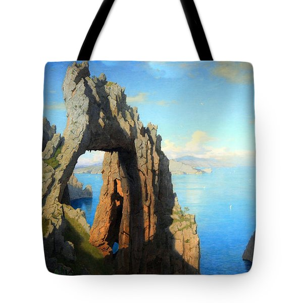 Haseltine's Natural Arch At Capri Tote Bag by Cora Wandel