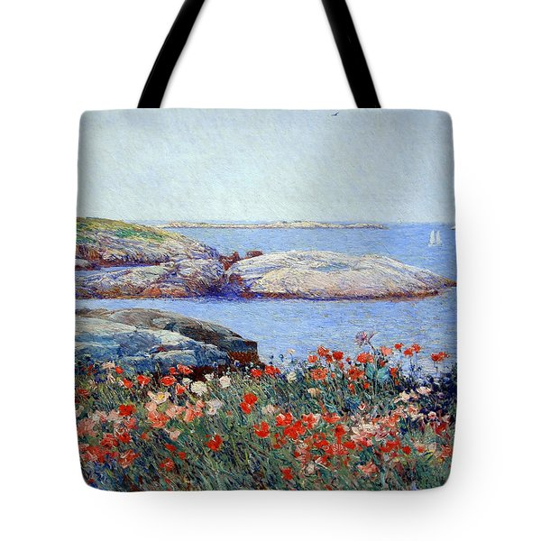Hassam's Poppies On The Isles Of Shoals Tote Bag by Cora Wandel