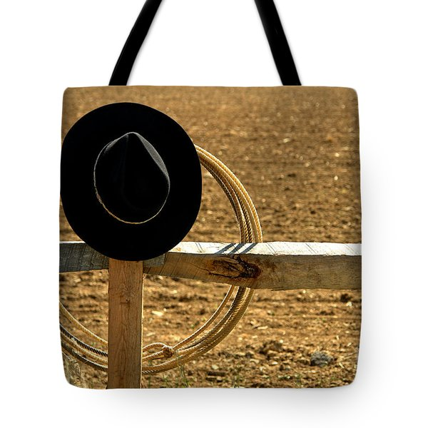 Hat And Lasso On Fence Tote Bag
