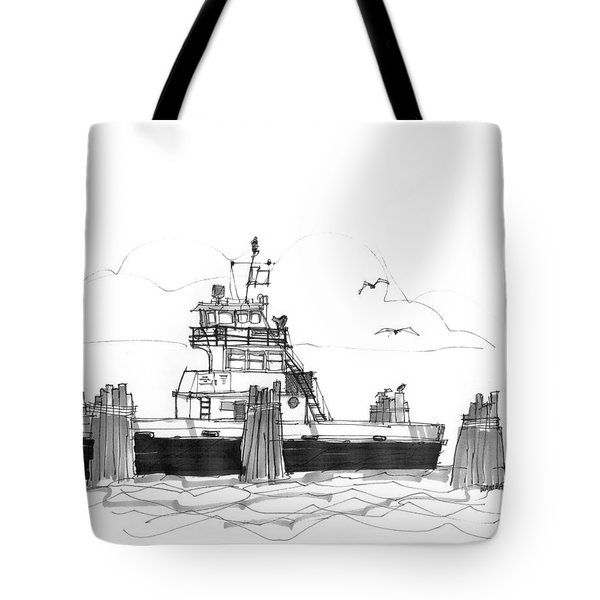 Tote Bag featuring the drawing Hatteras Ferry by Richard Wambach