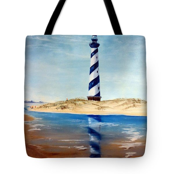 Tote Bag featuring the painting Hatteras Lighthouse by Lee Piper