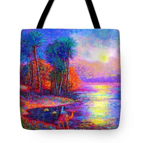 Tote Bag featuring the painting Haunting Star by Jane Small