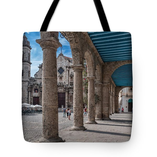 Havana Cathedral And Porches. Cuba Tote Bag by Juan Carlos Ferro Duque