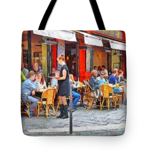 Having Lunch In A Parisian Cafe Tote Bag