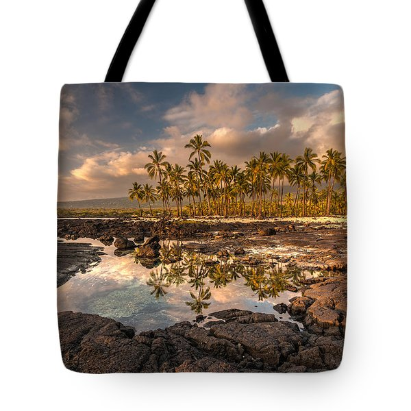 Hawaii Place Of Refuge Tidepools Sunset Tote Bag