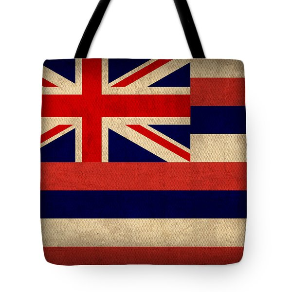 Hawaii State Flag Art On Worn Canvas Tote Bag